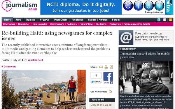 Capture d'écran de Journalism.co.uk